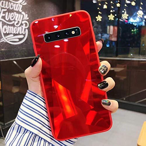 Uposao Kompatibel mit Samsung Galaxy S10 Hülle Spiegel Handyhülle Glänzend Glitzer Strass TPU Silikon Hülle Schutzhülle Überzug Mirror Case Stoßfest Cover Dünne klare weiche TPU Hülle,Rot