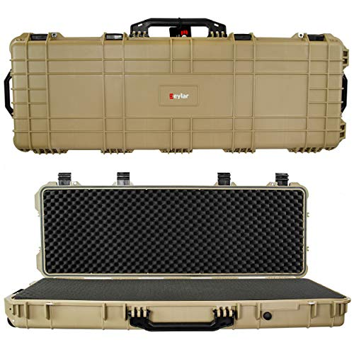 "Eylar 53"" Inch Protective Roller Tactical Rifle Hard Case with Foam, Mil-Spec Waterproof & Crushproof, Two Rifles Or Multiple Guns, Pressure Valve with Lockable Fittings Tan"