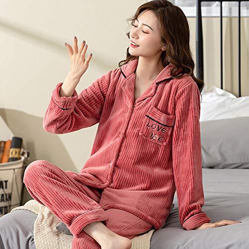 DFDLNL Pareja Ropa de Dormir de Franela Traje de Invierno de Manga Larga Pijamas de Princesa crdigan Informal Hombre Ropa de casa Pijamas Mujer M TM7008