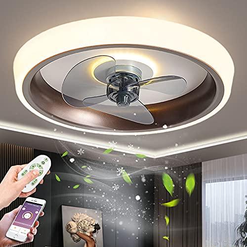 Silencioso Ventilador de Techo Luz moderna LED Lámpara de Techo con mando a distancia Regulable Luz Del Ventilador con Temporizador 3 Velocidades De Viento Plafon de techo para Salón Dormitorio