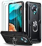 ivoler für Xiaomi Pocophone F2 Pro Hülle mit [Panzerglas Schutzfolie *3], Militärischer Schutz Stoßfest Handyhülle Anti-Kratzer Schutzhülle Hülle Cover mit 360 Grad Ring Halter, Schwarz