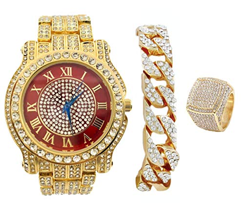 King Kickin' Real Hip Hop with This Color Bling Bling Watch with Gold Iced Cuban Bracelet and Ring - Say The King Home Wearing Luxury Gold Tone Blinged Out Timepiece - L0504CR Ruby (8)