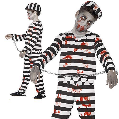 B-Creative No llegar a tiempo para HALLOWEEN Premium UK Boys Zombie Convict Costume Halloween Kids Prisoner Disfraz de disfraz de nio pequeo