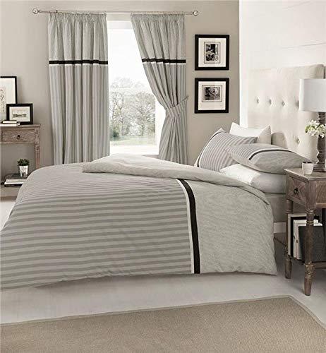 Homemaker  Grey stripe duvet set quilt cover & pillow cases classic striped bedding design (King)