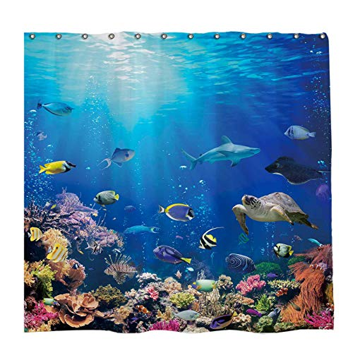 Allenjoy 72x72 inch Ocean Fish Shower Curtain Set Nature Scenic of Tropical Sea Animals Undersea Decor Home Bathroom Bathtub Curtains Durable Waterproof Washable Fabric with 12 Hooks