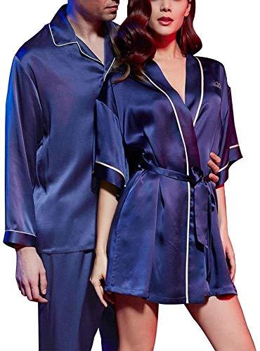 SCRT Pijama Pareja Pijamas de Seda Pijama de Verano de Manga Larga 2 Pedazo Atractivo del camisón Femenino (Size : Ms. L)