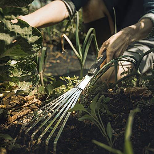 Fiskars 315520-1001 Xact Hand Garden Rake, Black/Slivler