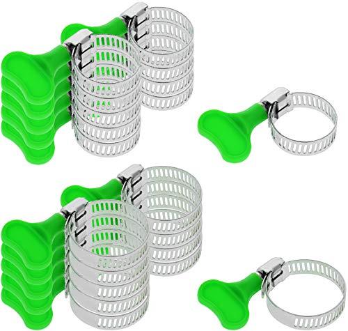COM-FOUR® 20-delige set slangklemmen, slangklemmen in verschillende maten, bereik 14-35 mm, bandbreedte 8 mm (20 stuks - met een groene sleutel)