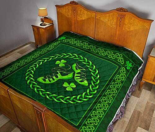 Gift for Family Irish Dance Shoes Celtics Quilt & Blanket with Pillowcase Cover Soft Comfortable for Kids Parents Us Throw Twin Queen King Size