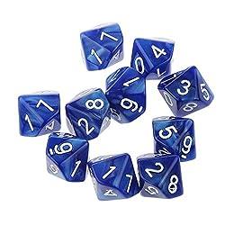 【ノーブランド品】 10個 八色選ぶ アクリル製 不透明 10面 0-9 サイコロ プレー ギフト 装飾 - 青
