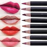 CCbeauty 8pcs Women's Professional Makeup Lip liner Pencil Set with Cover Waterproof Long Lasting Eyeliner Colors Matte Set