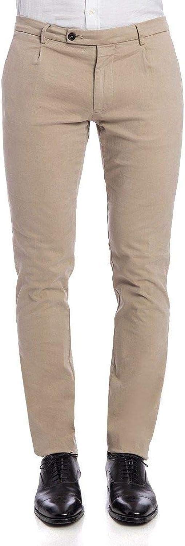 BERWICH Men's MILANOXGABCAMOSC Beige Cotton Pants