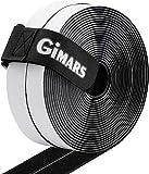 Gimars adhesivo ancho 20mm * 10M Velcro adhesivo tela doble cara Fijación segura para trabajos manuales y de bricolaje/Equipado con cierre con hebilla para organizar (10M Negro)