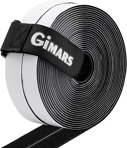 Gimars adhesivo ancho 20mm * 10M Velcro adhesivo tela doble cara Fijación segura para trabajos manuales y de bricolaje Equipado con cierre con hebilla para organizar (10M Negro)