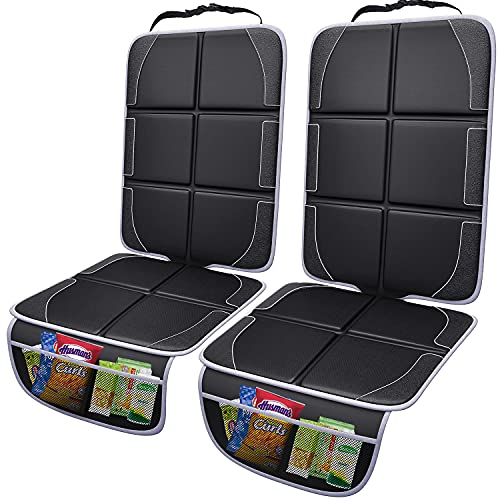 Gimars XL Thickest EPE Cushion Car Seat Protector Mat [Black], 2 Pack Large Waterproof 600D Fabric Child Baby Seat Protector with Storage Pockets for SUV, Sedan, Truck, Leather and Fabric Car Seat