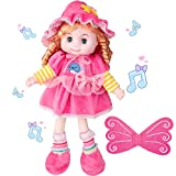 Odewa Soft Baby Doll with Open & Close Eyes and Hair 20 Inch Plush Doll Toys with Plays Songs Butterfly Wings Great Gift 3 Years and Up