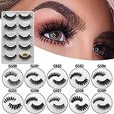 QIUUE Makeup False Lashes, 5 Pair/Lot Crisscross False Eyelashes Lashes Voluminous Extension lashes Natural Thick 3D Imitation Water Eyelashes (D: G503)