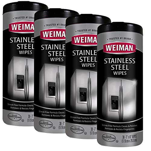 Weiman Stainless Steel Cleaner Wipes (4 Pack) Removes Fingerprints, Residue, Water Marks and Grease from Appliances - Works Great on Refrigerators, Dishwashers, Ovens, and Grills