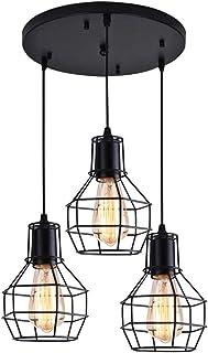 Lámpara Colgante de Jaula Industrial Vintage Lámpara de Techo Metal Retro, E27 Lámparas de Araña Iluminación colgante Cocina Comedor Sala de estar Iluminación y Decoración (Negro)