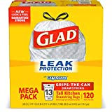 Glad Tall Kitchen Trash Bags, 13 Gal, 120 Ct