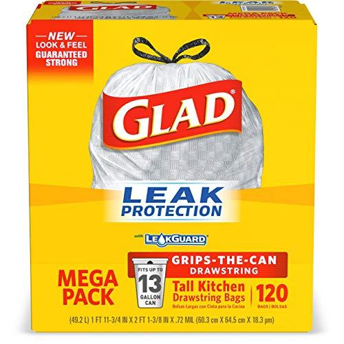 Glad Tall Kitchen Trash Bags, 13 Gal, 120 Ct