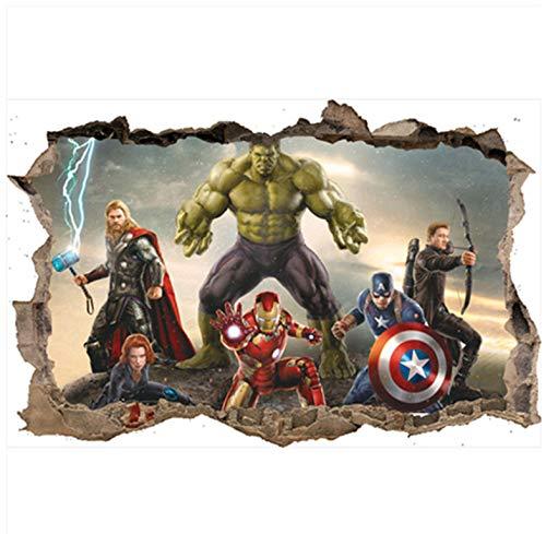 The Avengers Anime Gebrochene Wandtattoos Superhelden Iron Man Hulk 3D Vinyl Aufkleber Kinder Schlafzimmer Dekoration Poster 70 * 50Cm