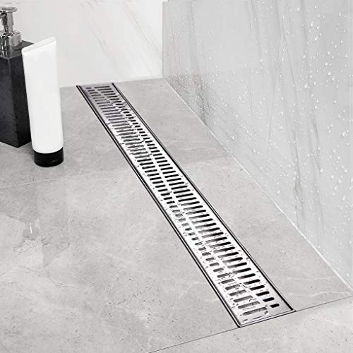 Neodrain Linear Shower Drain 36-Inch with Removable Wave Pattern Grate,Professional Brushed 304 Stainless Steel Rectangle Shower Floor Drain Manufacturer,With Leveling Feet,Hair Strainer