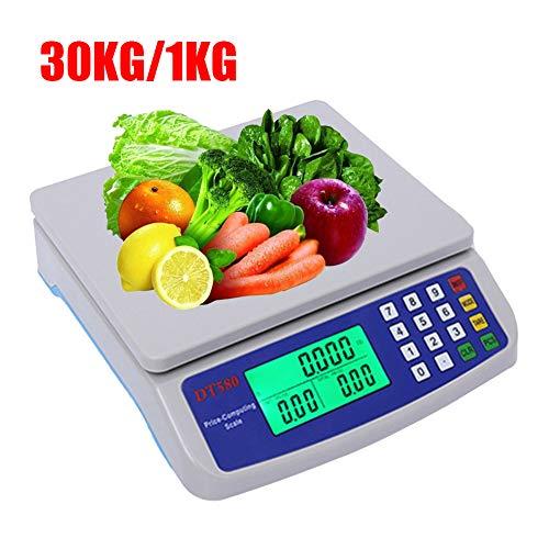 FYJTL Elektronische Waage, 25KG 30KG Präzision 1G Plattformwaage, LED-Anzeige, Industrie Preisrechenwaage Supermarkt Obst Gemüse Digitalwaage Feinwaage Zum Landwirte Markt,30kg/1kg