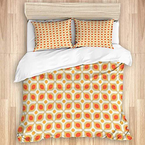 ZHENJILBettwäsche,Verknüpfte mutige geometrische Formen 70er Jahre Vintage minimalistisches Muster böhmisches Design,1 Bettbezug(135 * 200cm)+ 2 Kopfkissenbezug,super weich elegant