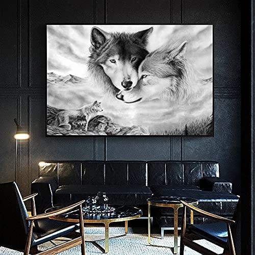 Cuadros decorativos Pinturas de lobo sobre lienzo con estampado de animales imágenes colgantes para...