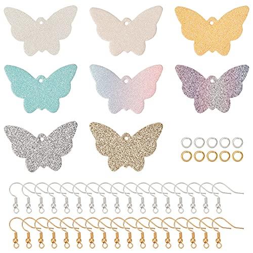 SUPERFINDINGS 8 colores 32,5 x 48 x 1,5 – 2 mm, 8 pares de pendientes de mariposa, de piel...