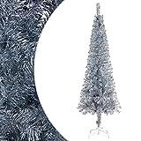 Festnjght Árbol de Navidad Artificial Extra Relleno Abeto de Hoja Espumillón 210 Arboles con Soporte Metálico Plateado fácil de Montar