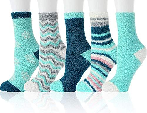 Toes Home Cartoon Kuschel Socken Damen - 6 Paar Super Weich Flauschige Warme Winter Lässige Zuhause Socken für Mädchen (Serie C (5 Paar), Einheitsgröße)