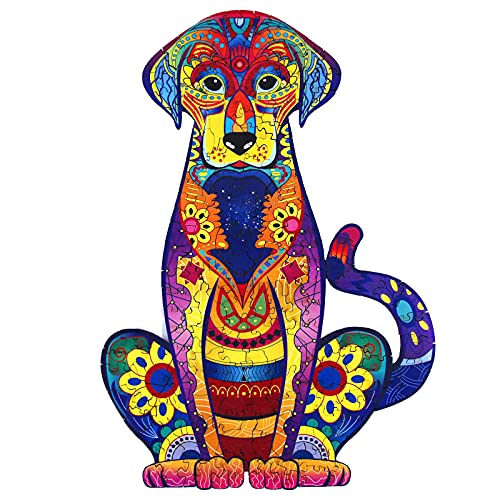 PINMAMY Wooden Jigsaw Puzzles for Adults and Kids,Durable Wooden Jigsaw Puzzles Pieces,Colourful Animal Shaped Wooden Puzzles(S/M/L (Labrador, L)