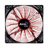 Aerocool SHARK - Ventilador gaming para PC (12 cm, 12V/7V, 15 aspas, 14.5 dBA, 1500rpm, iluminación LED naranja, ultrasilencioso, antivibración, cables enmallados), color naranja