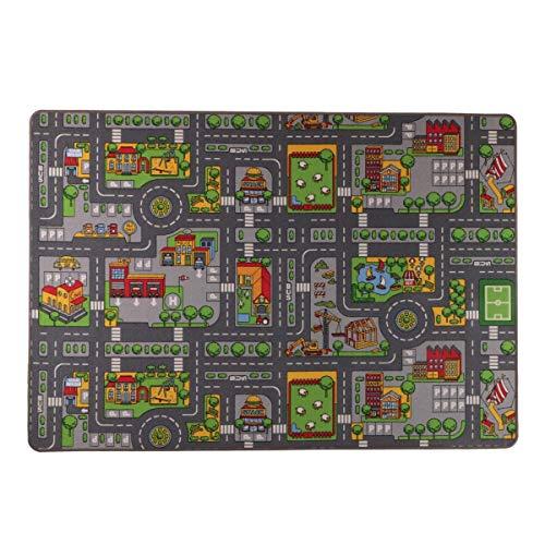 havatex Kinderteppich Little City - Multicolor | Kinderteppich schadstoffgeprüft pflegeleicht strapazierfähig | Kinderzimmer Spielzimmer, Farbe:Multicolor, Größe:95 x 200 cm