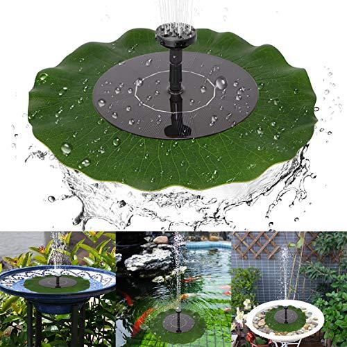 Yinuoday Solarbrunnen für Vogeltränke, Teich, Gartendekoration mit Lotusblatt und 4 verschiedenen Sprühmustern