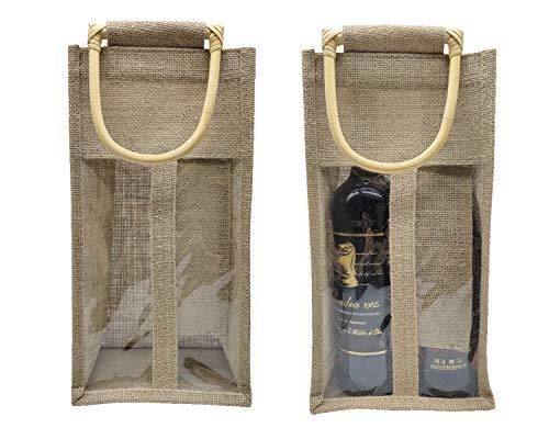Sanrich Jutebeutel für Weinflaschen, mit Bambusgriff, für Proben, Hochzeit, Geburtstag, Party, Festival, Geschenk (Doppelfenster)