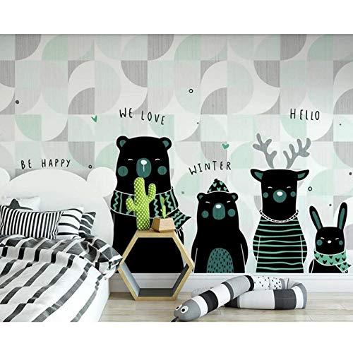 Carton Animal Wallpaper Goedkopere muur muurschildering, HD minimalistische muur papier afdrukken, Kinderen Kamer Achtergrond 3D Behang 280 cm (B) x 180 cm (H)