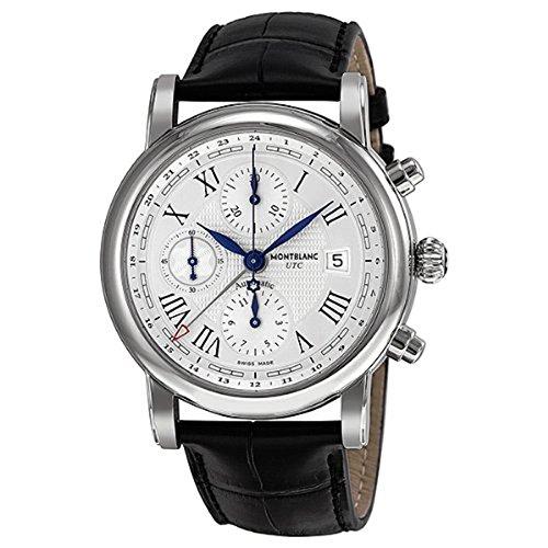 Montblanc Chronograph Leder Silber Uhr Herren Schwarz Sterne Zifferblatt UTC