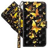 MRSTER LG V40 ThinQ Handytasche, Leder Schutzhülle Brieftasche Hülle Flip Hülle 3D Muster Cover mit Kartenfach Magnet Tasche Handyhüllen für LG V40 ThinQ. YX 3D - Golden Butterfly