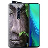 Phone Case for Oppo Reno 5G/10x Zoom Inner Peace Zen Statue Design Transparent Clear Ultra Soft Flexi Silicone Gel/TPU Bumper Cover