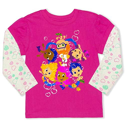 Bubble Guppies Toddler Girls Long Sleeve T-Shirt Tee (2T, Dark Pink)