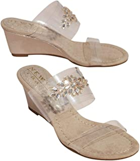 Clear Strap Wedges with Crystal Embellishments Style FANOFMINE