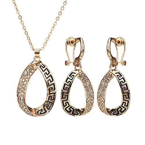 wpaacb Collar Hombre Brillante Collar Conjunto de Joyas de Collar y Pendiente Collar de Hija Collar para Novia Clásico Collar Collar romántico