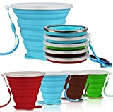 AVALEISURE Collapsible Travel Cup - Ultra-Slim Foldable Silicone Cup with Lid for Coffee, Water, Tea - Portable Camping, Hiking, Outdoor Sets (Green.Brown.Blue.red)