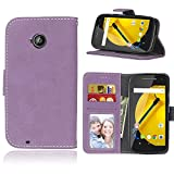 Moto E (2nd Gen) Wallet Case, FUBAODA [Drop Protection] Kickstand Premium PU Leather Dual-Use Folio Magnetic Wallet Cover with Credit Card Slots Holder for Motorola Moto E (2nd Generation)(Purple)
