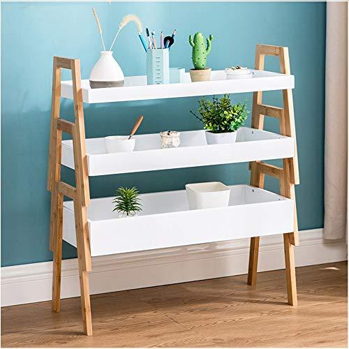 YINUO Trapezoid Rack Shelf Etage Chambre Salon Nordic White Etagère De Rangement Combinaison Simple Simple Flower Balcony white Taille: 68.2x79cm