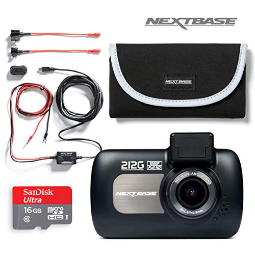 Nextbase 212G Full 1080p HD In Car Dash Cam Camera Bundle Kit with Mount, Hardwire Kit, 16GB SD Card and case included