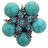 YAZILIND Starfish superpone kallaite Elegante Anillo de Cristal de Plata Tibetano de la Turquesa Ajustable